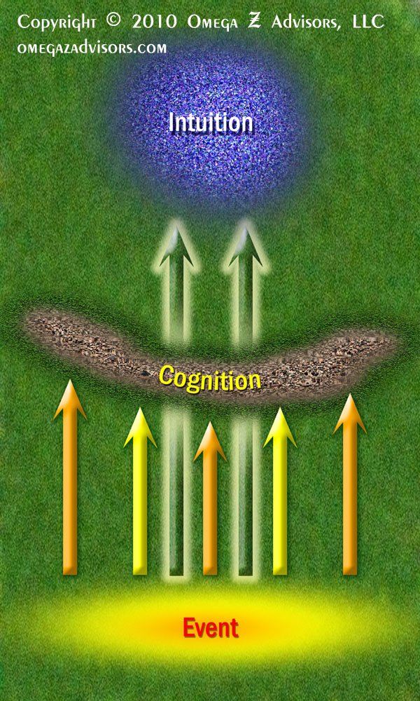 Intuition influences thought processes by picking up aspects of events that our cognition does not pick up.