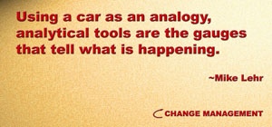 Analytical tools for change management help one gauge the progress of the change effort.