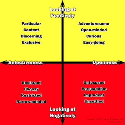 Selectiveness is the positive opposite of the openness personality trait.