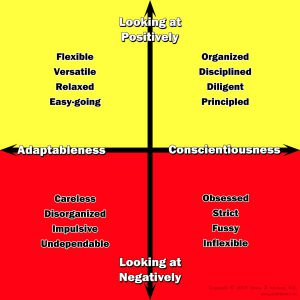 Adaptableness is the positive opposite of the conscietiousness personality trait.